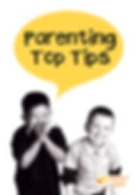 Parenting Top Tips front cover. Two young boys laughing. The black book title sits within a yellow speech bubble