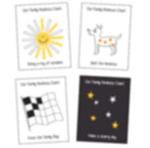 4 images of example kindness charts. A sunshine chart to colour in, a spotty dog to place sticker spots on, a chequered racing flag to colour in the black squares and a black sky chart to add stars onto