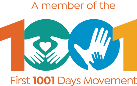 First 1001 Days Movement Logo. 1001 is coloured orange, green, blue and yellow. In the middle of the zeros are hands around a heart and a small hand within a large hand.