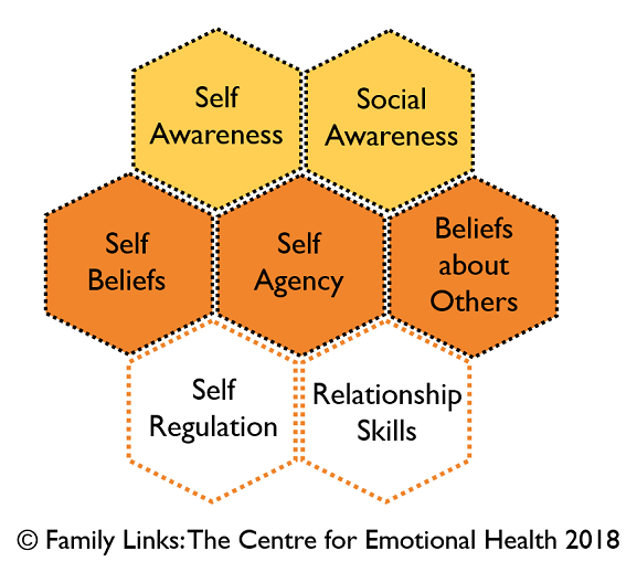 The seven assets of emotional health, individually written in a hexagon shape. All together they form a flower pattern