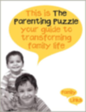 The Parenting Puzzle Book, on the cover is a black and white image of two young boys smiling. The orange and black title sits in a yellow speech bubble