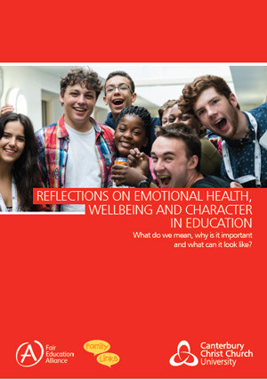 Reflections on Emotional Health, Wellbeing and Character in Education Report. The front cover is red, with white text. An image of a group of happy teenagers sits in the middle of the page.