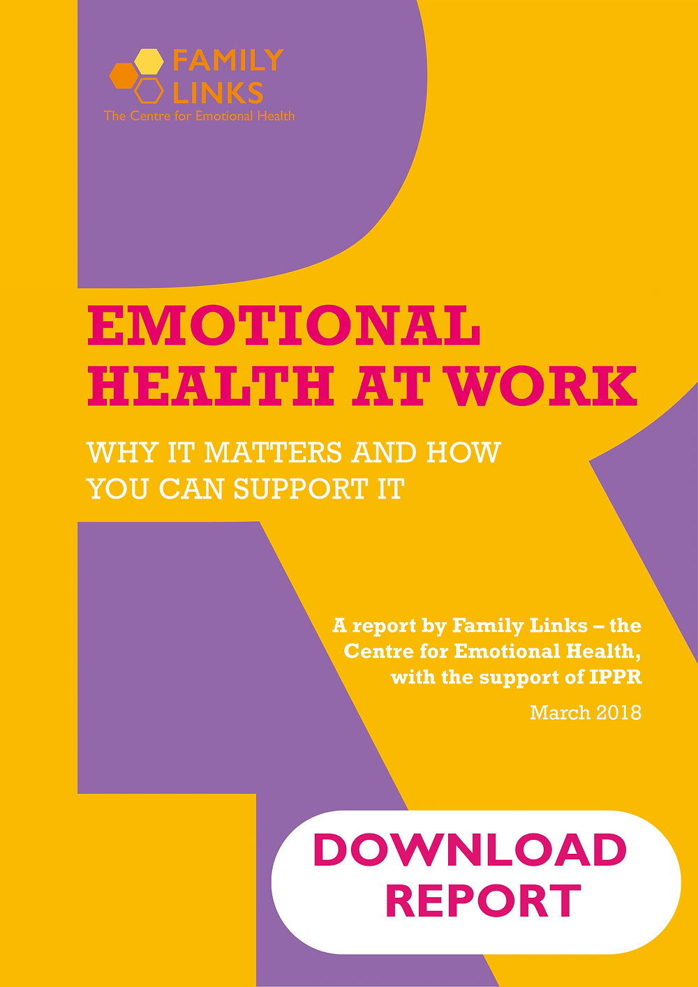 Emotional Health at Work Report front cover. Title text is pink and subtitles are white. The background is yellow and purple.