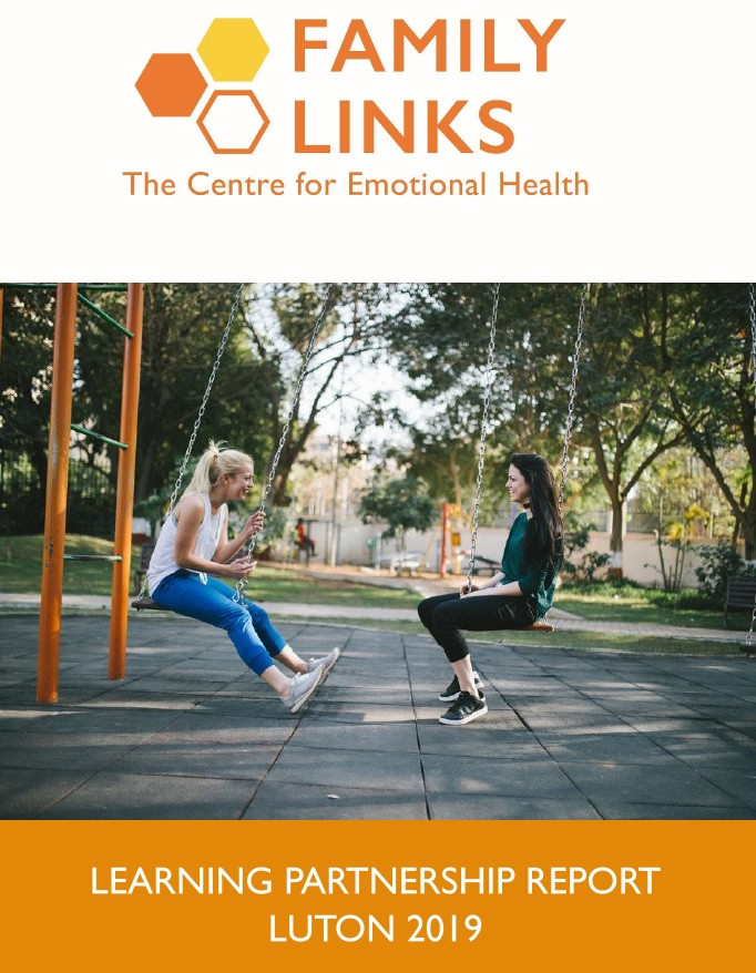 Family Links Learning Partnership Report Luton 2019 front cover. The Family Linsk logo is at the top, and underneath is a picture of two teenage girls sat on swings, facing each other and laughing. They are in a park.