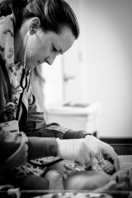 Nurse Checking baby at Hoag Hospital-Bug and Roo Photography-Birth Photographer-Newport Beach-Orange County