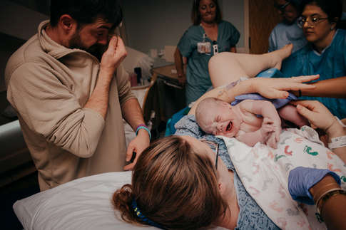 Dad Crying after baby is born at Kaiser Permanente Hospital-Bug and Roo Photography-Birth Photographer-Anaheim-Orange County