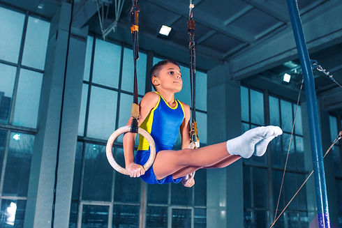 USA Gymnastics Competitive Boys Team: Young male gymnastin an L support on rings.