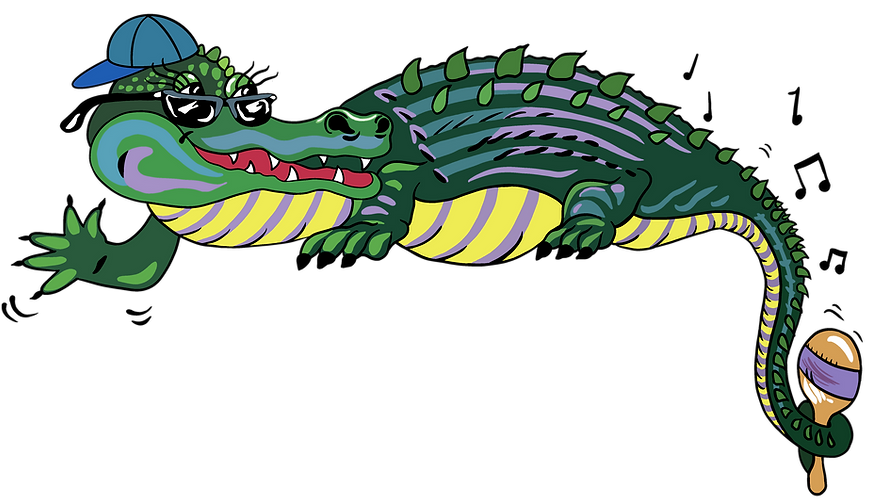 Waving Gator with sunglasses, backwards baseball hat and long sassy lashes.