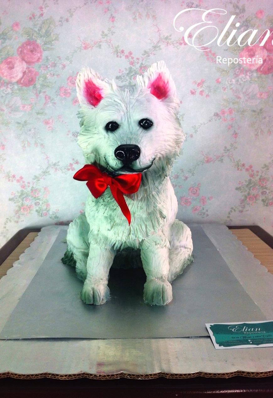 Pastel de perro en 3D de fondant