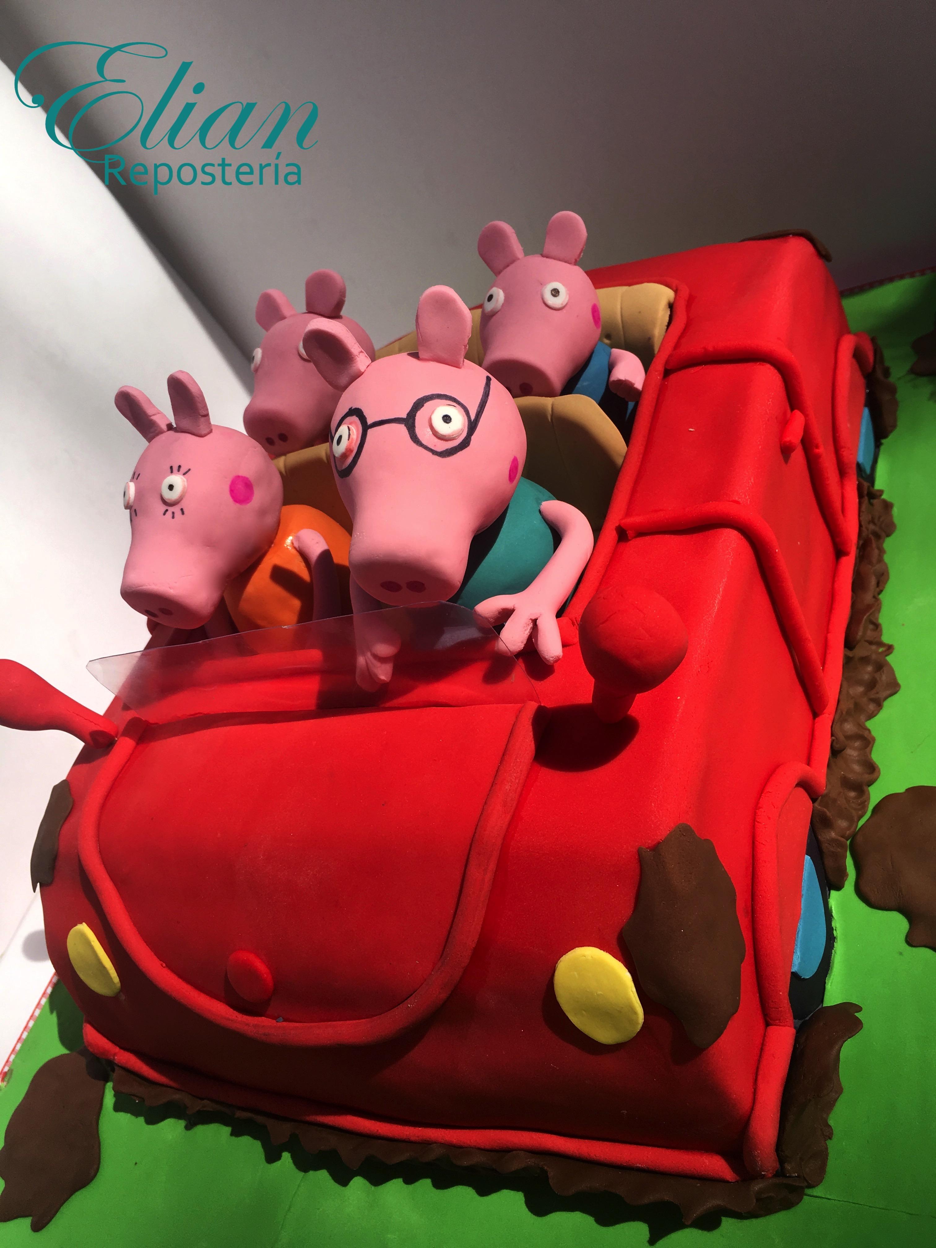 Pastel de pepa Pig coche