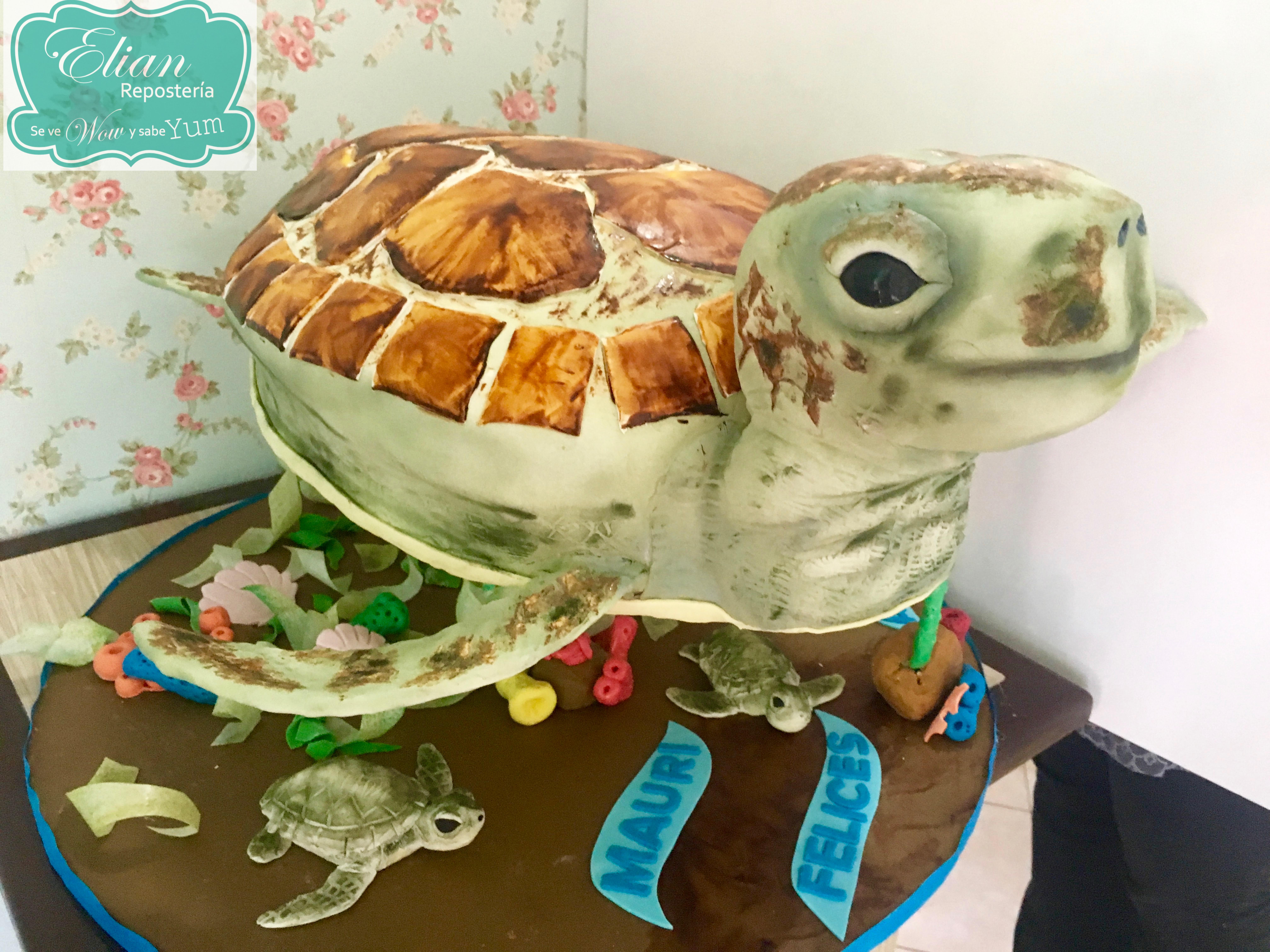 Pastel tortuga en 3D
