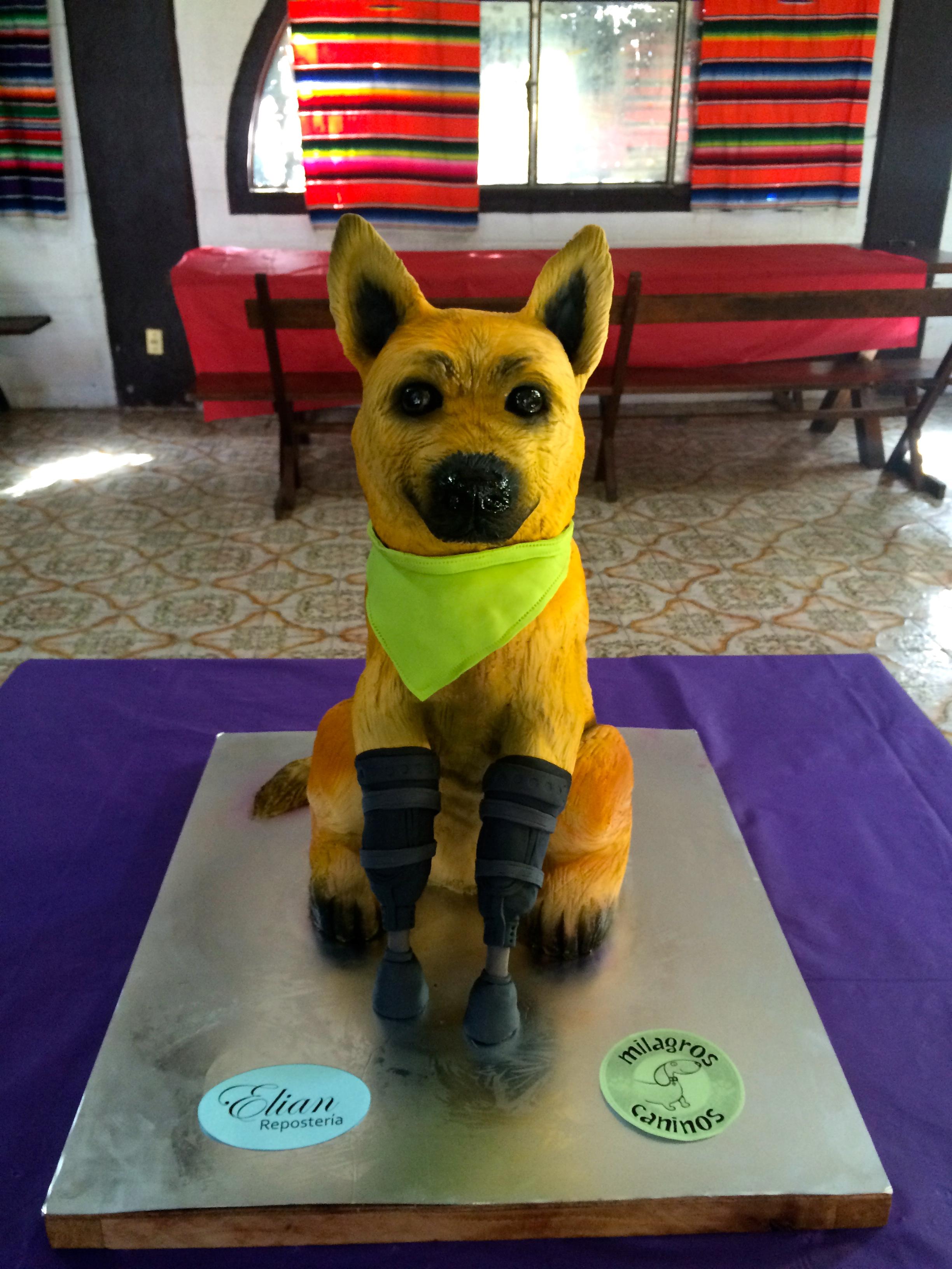 Pastel de perro 3D fondant