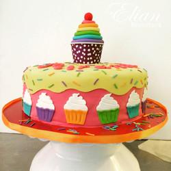 Pastel de cupcake fondant mexico