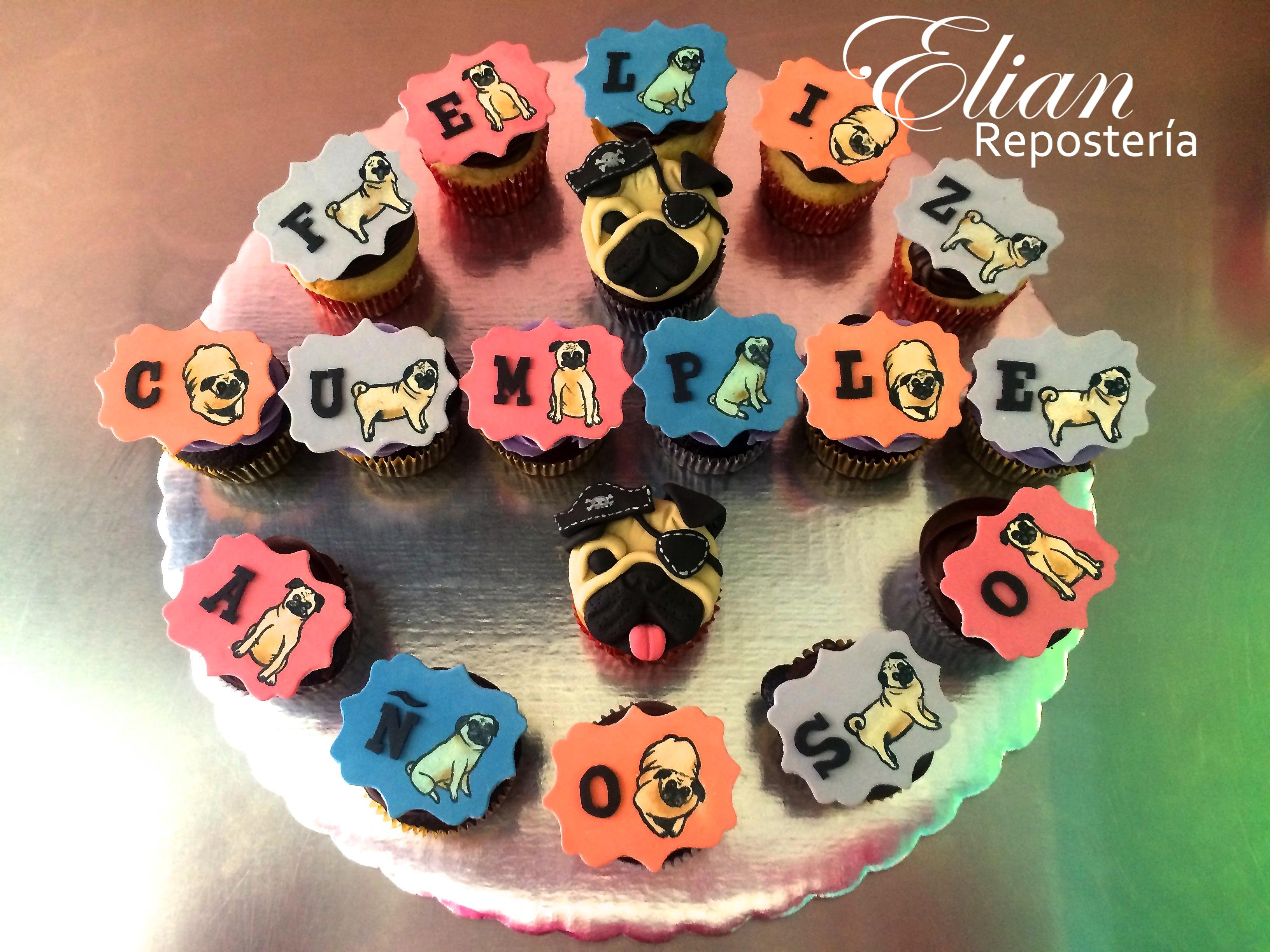 Cupcakes Pug fondant mexico