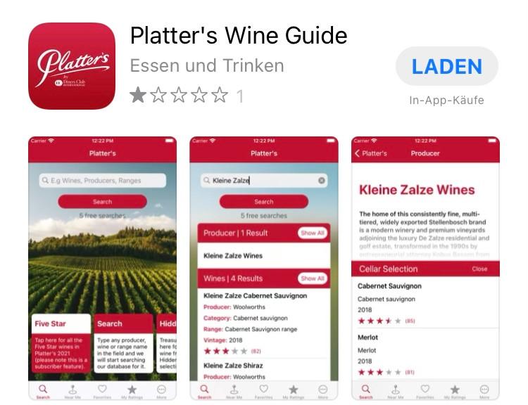 Platters Wine App fuer Kapstadt