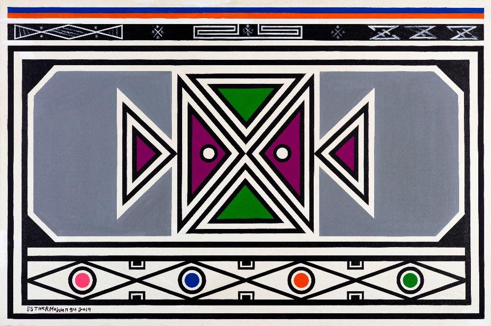 Dr. Esther Mahlangu, Abstract, 2019 Acrylic on canvas 001965