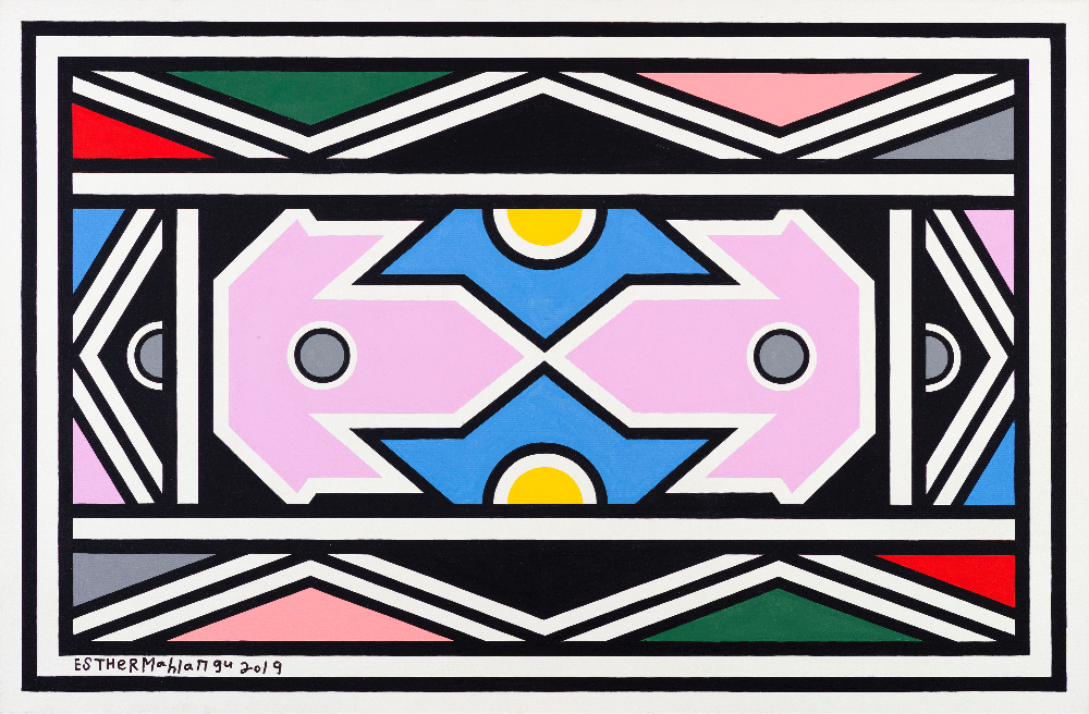 Dr. Esther Mahlangu, Acrylic on Canvas 2019 Foto:  @The Melrose Gallery