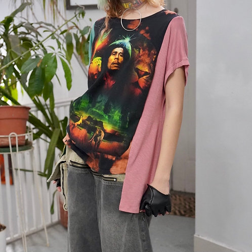 Reworked vintage Tie-dye Colorblock Bob Marley Graphic T-shirt
