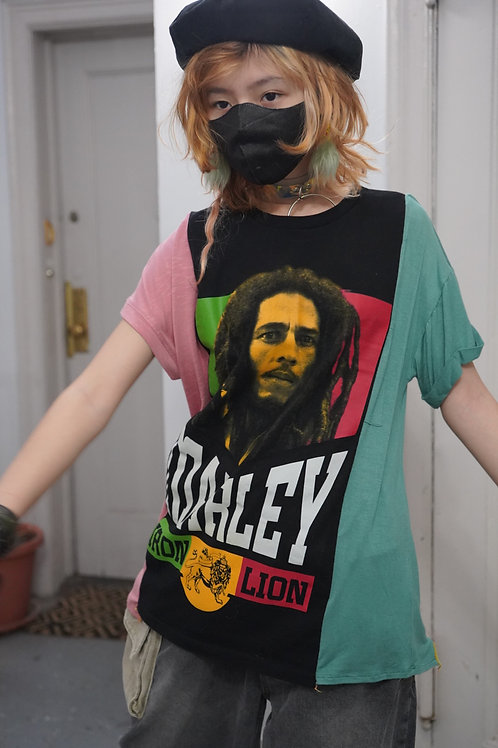 - Reworked vintage Colorblock Bob Marley Graphic T-shirt