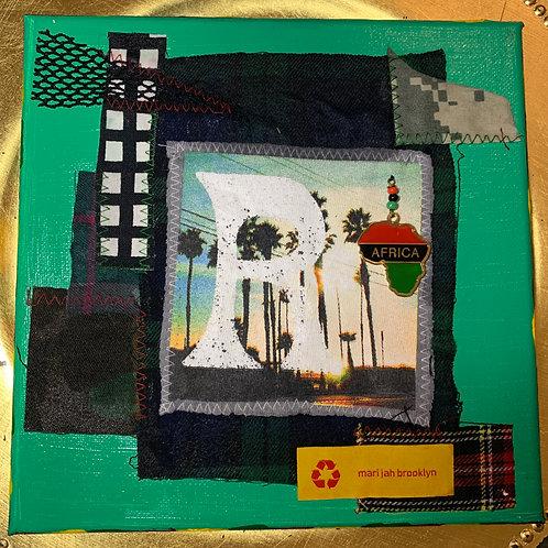 Bob Marley Fabric Collage Art 「R」ボブマーリー・コラージュ アート