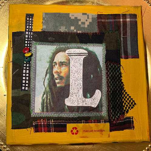 Bob Marley Fabric Collage Art 「L」ボブマーリー・コラージュ アート