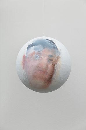 Charles, 2019, acrylic on canvas on a sphere,Ø 31 cm