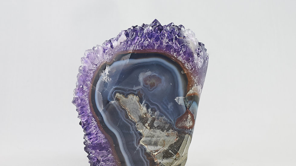 Amethyst Crystal Cluster Geode with Polished Agate Shell A00002