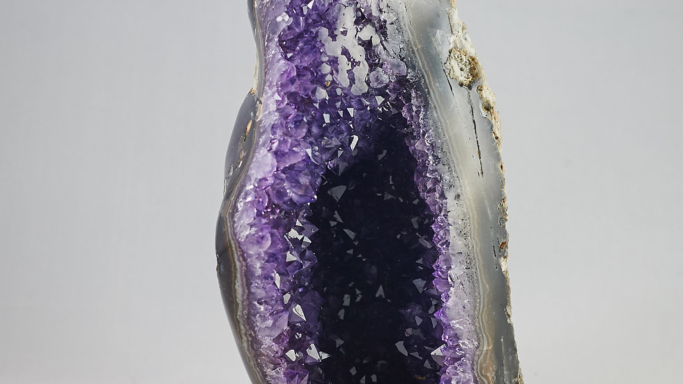 Uruguayan Amethyst Crystal Cluster Cathedral with Polished Agate Edges A00023
