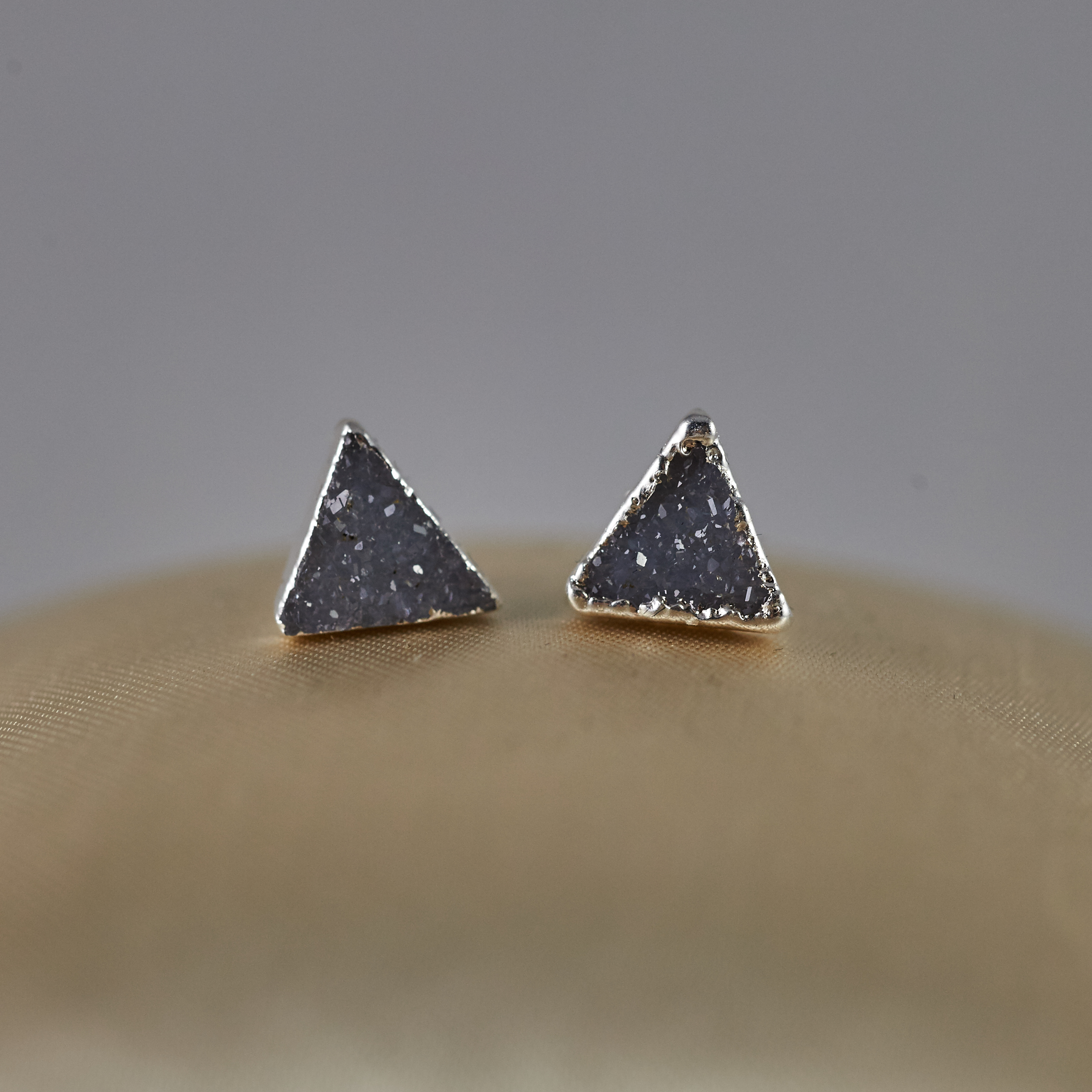 Druzy Triangle Stud Earrings jpg SJE00001