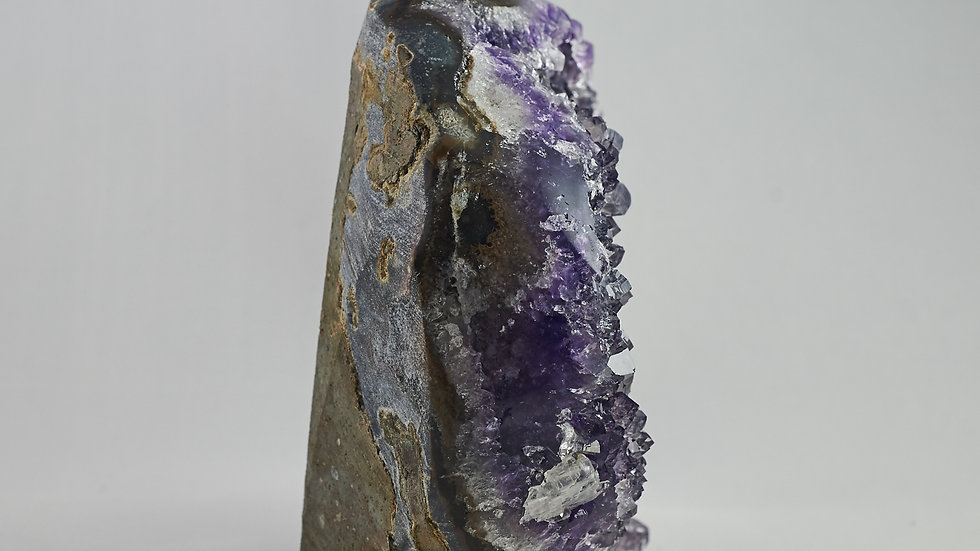 Amethyst Crystal Cluster with Polished Agate Rim Edges A00019