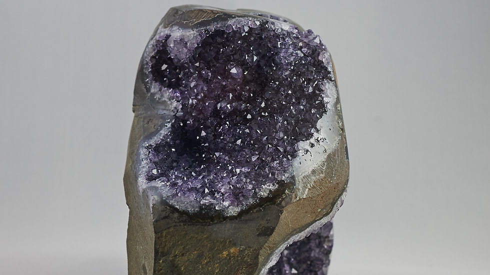 Unique Uruguayan Amethyst Crystal Cluster with Polished Crystal Quartz A00015