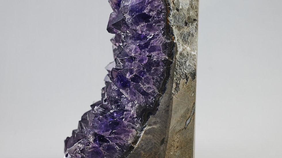 Natural Uruguayan Amethyst Geode with Polished Rim Edges A00025