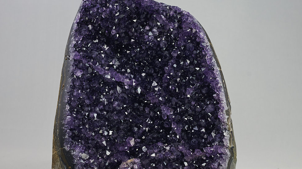Natural Amethyst Geode with Polished Agate Rim Edges A00017