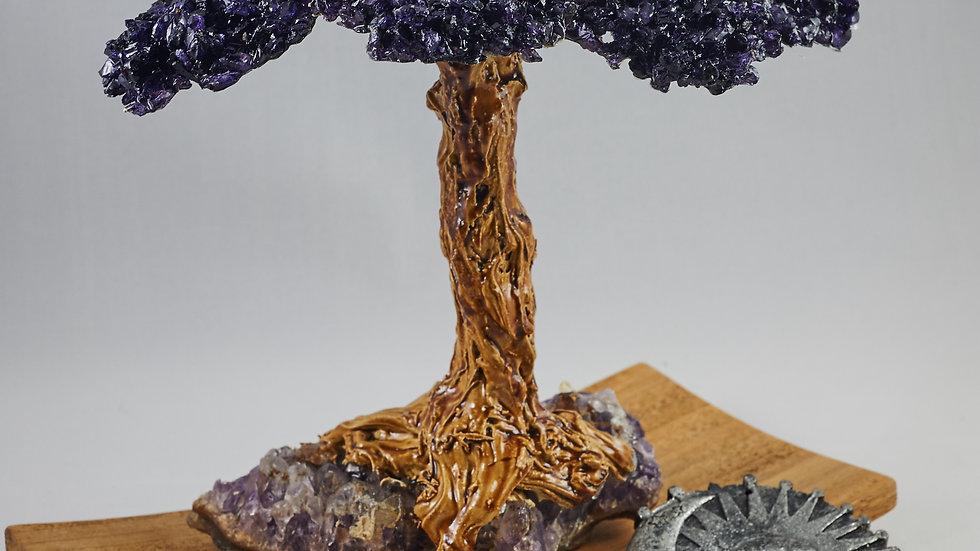 Bonsai Gemstone Wishing Tree with Petrified Wood ABT00004