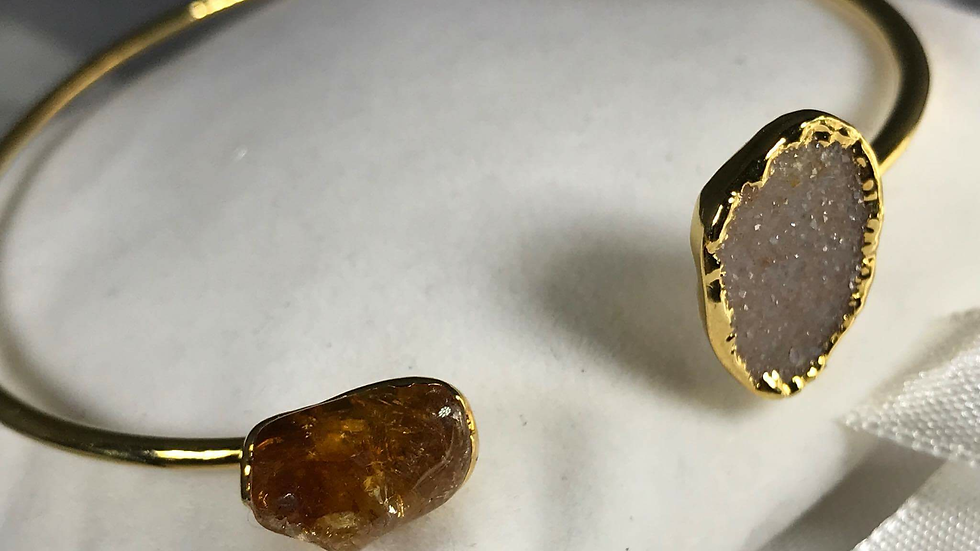 Tumbled Citrine & Druzy Bangle (Adjustable) GJB00004