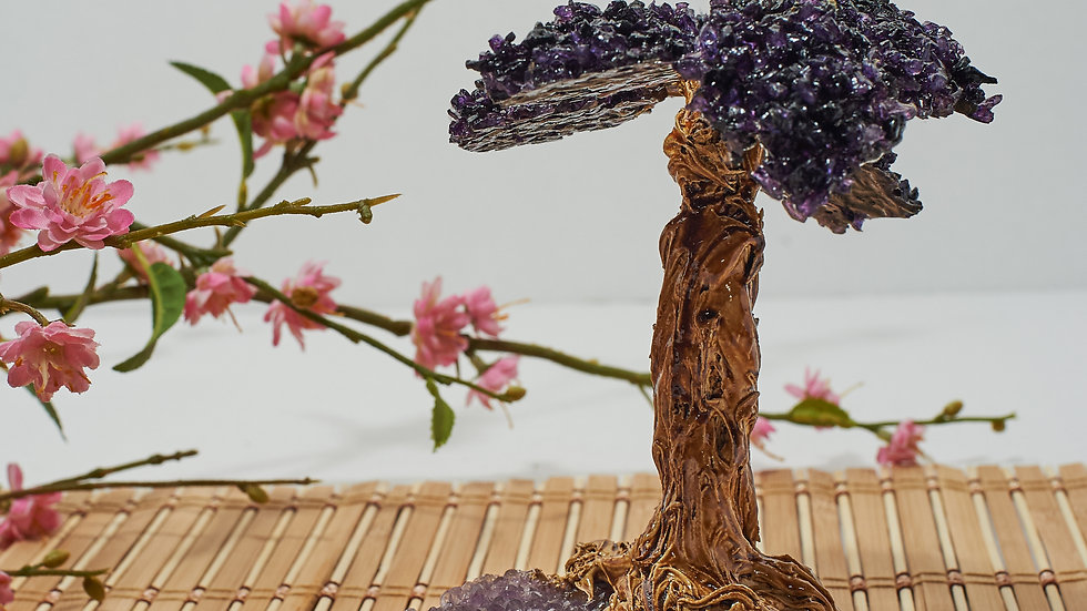 Amethyst Bonsai Tree with Petrified Wood and Druzy Base ABT00002
