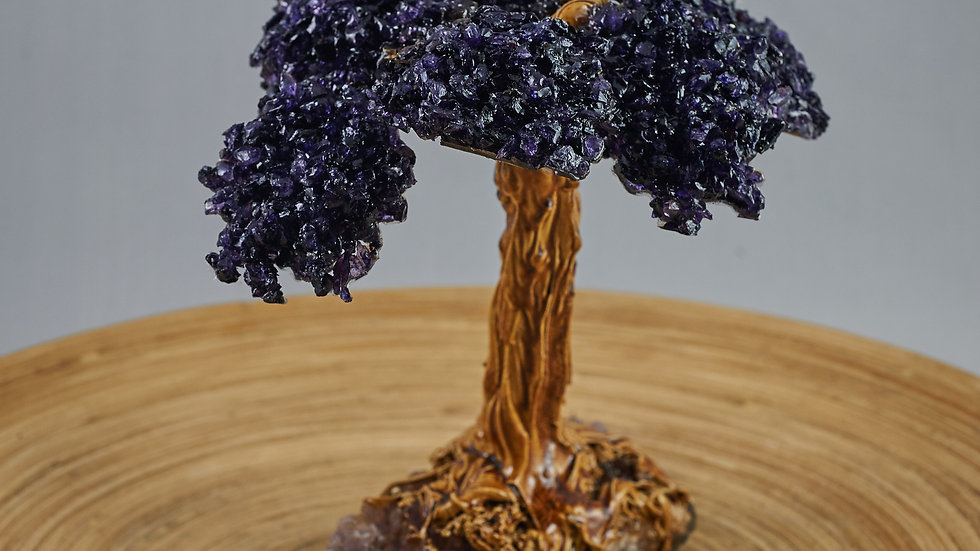 Amethyst Bonsai Tree with Petrified Wood and Druzy Base ABT00008