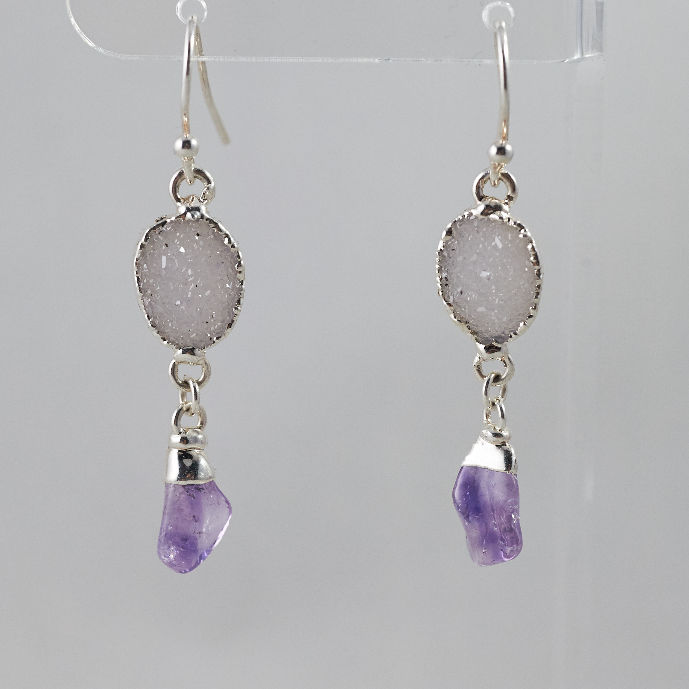 Druzy _ Amethyst Polished Points Dangling Earrings .jpg SJE00009
