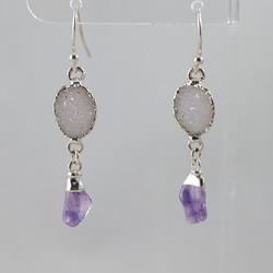 Druzy _ Amethyst Polished Points Dangling Earrings .jpg SJE00009