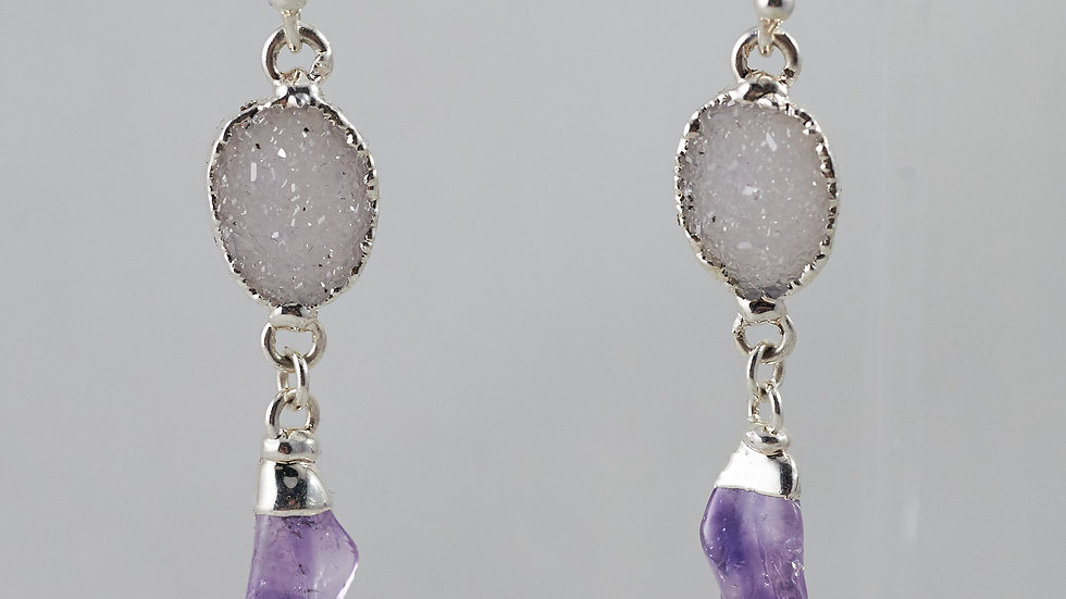 Druzy & Amethyst Polished Points Dangling Earrings SJE00009