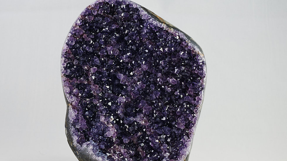 Amethyst Crystal Cluster Geode with Agate Polished Rim Edges A00008