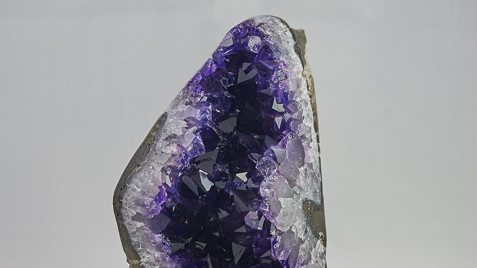 Deep Purple Points Amethyst Geode with Polished Crystal Quartz A00012