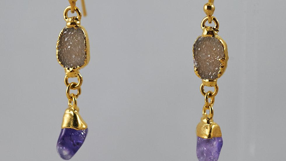 Druzy & Amethyst Polished Points Dangling Earrings GJE00008