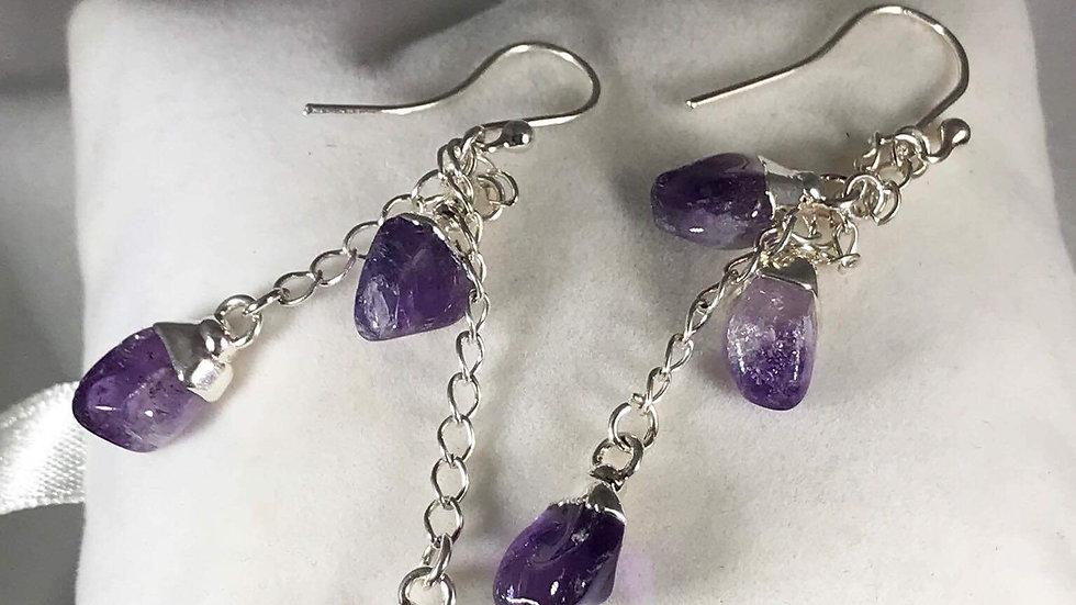 Amethyst Polished Points Dangling Earrings SJE00004