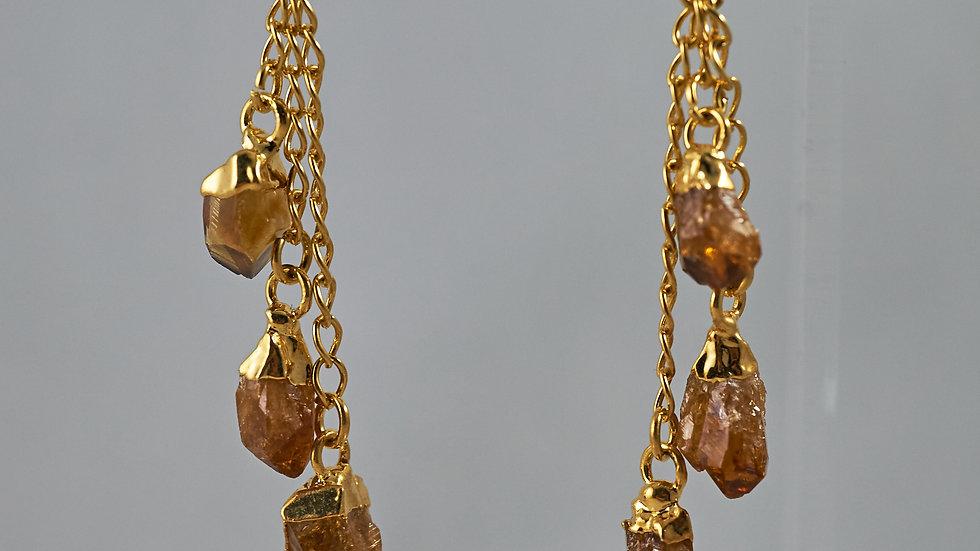 Citrine Polished Points Dangling Earrings GJE00002