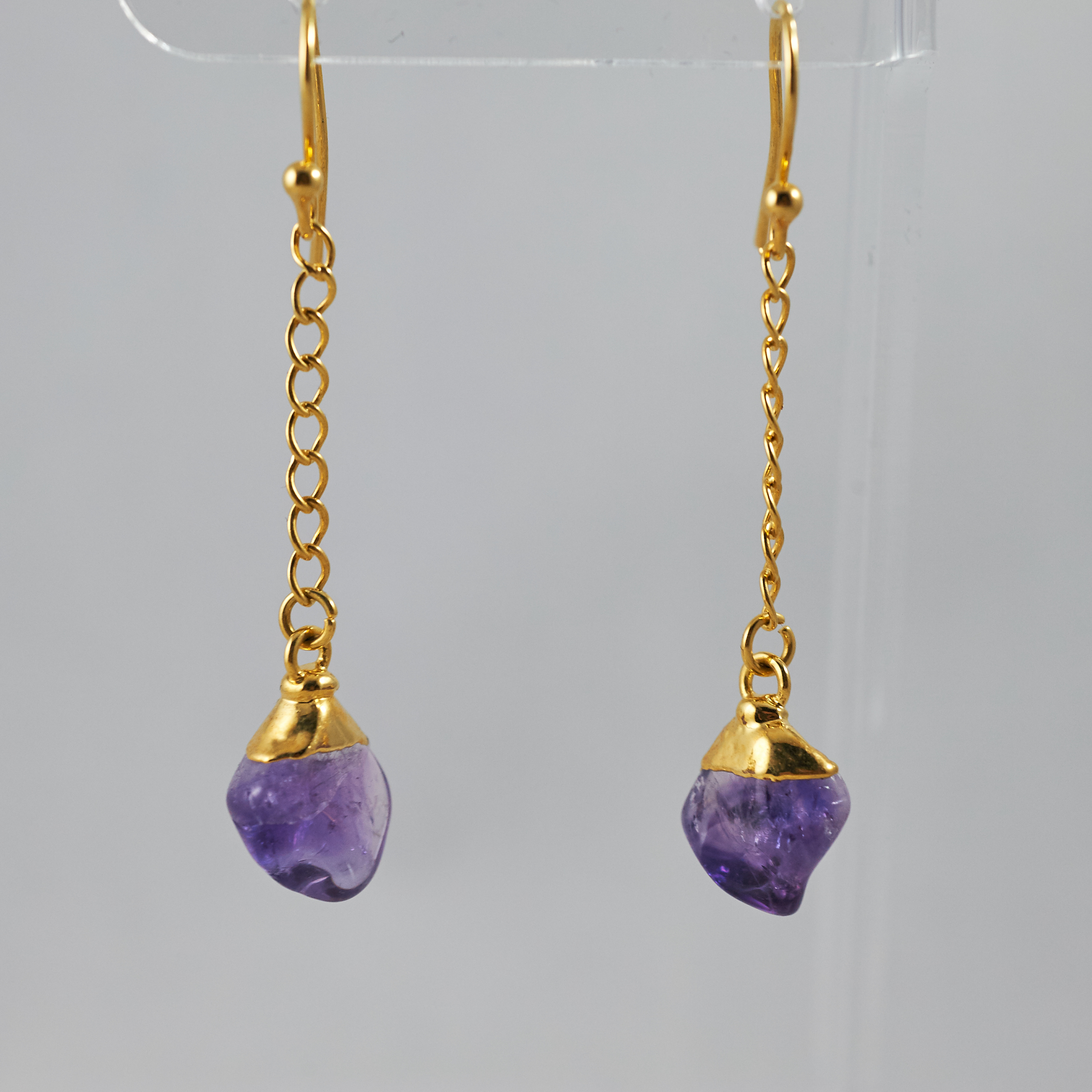 Amethyst Polished Point Dangling Earrings .jpg GJE00005