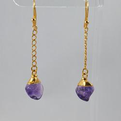 Amethyst Polished Point Dangling Earrings .jpg GJE00005