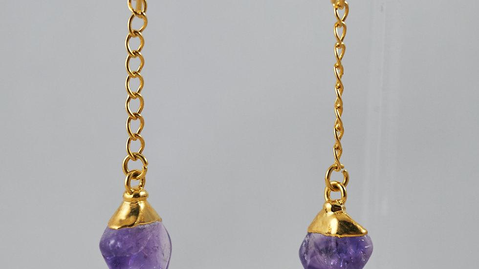 Amethyst Polished Point Dangling Earrings GJE00005