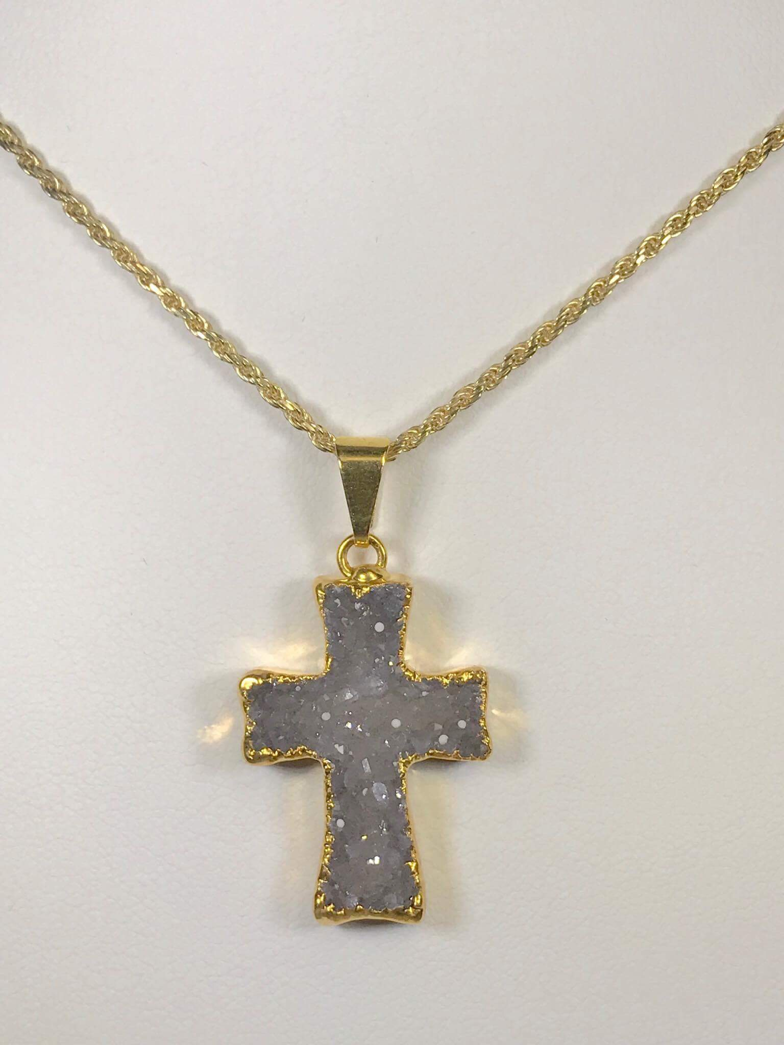 Druzy Cross Pendant G1