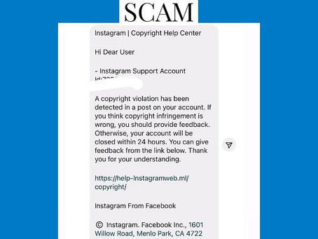 Instagram Phishing Scam is hijacking accounts with high reach on the Platform